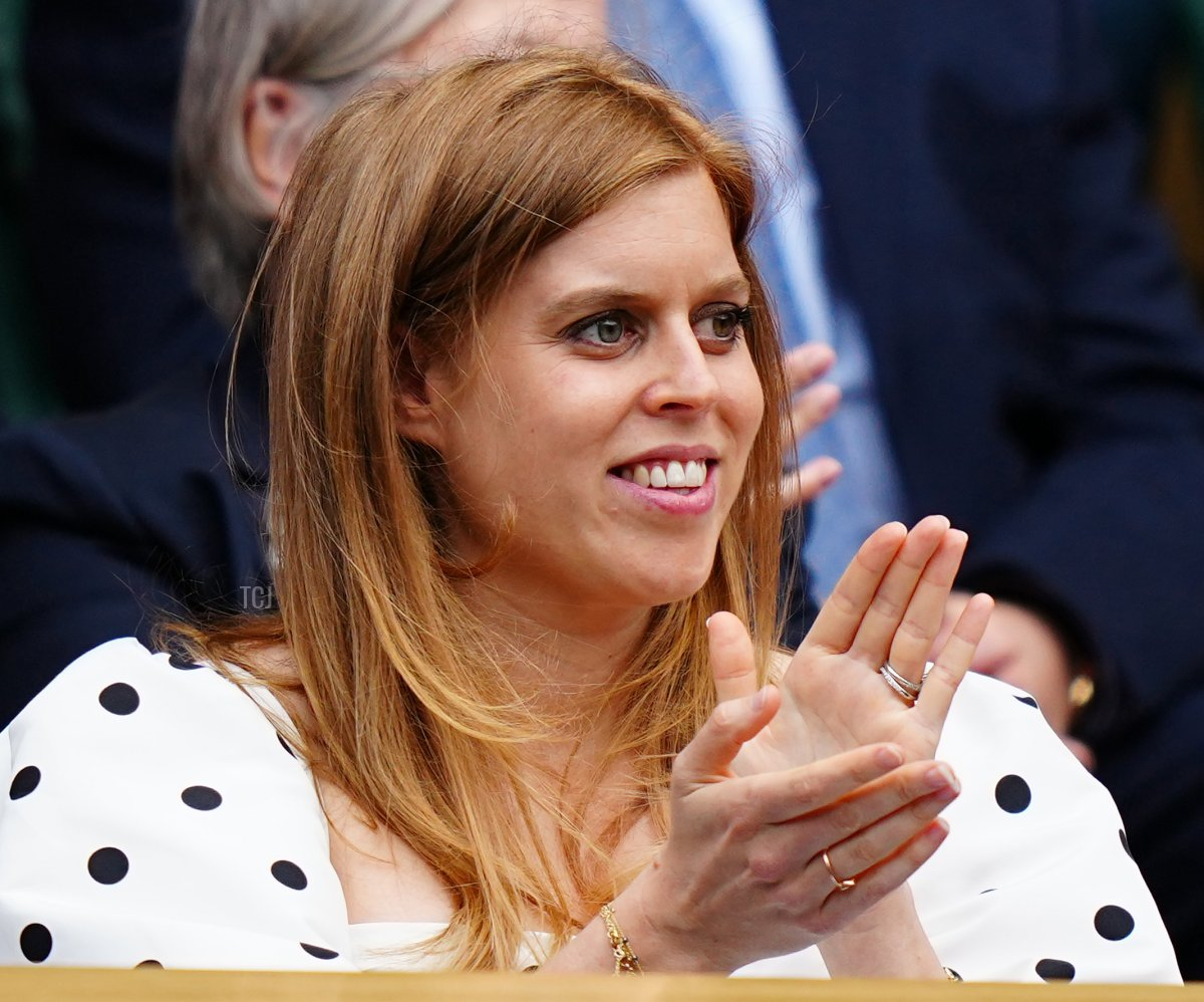Princess Beatrice looks on ahead of the start of the Ladies' Singles Semi-Final matches on centre court during Day Ten of The Championships - Wimbledon 2021 at All England Lawn Tennis and Croquet Club on July 08, 2021 in London, England