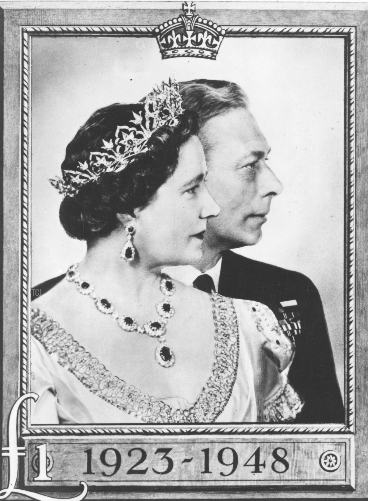 30th April 1948: A £1 stamp featuring King George VI (1895 - 1952) and Queen Elizabeth (1900 - 2002) to commemorate their Silver Wedding anniversary