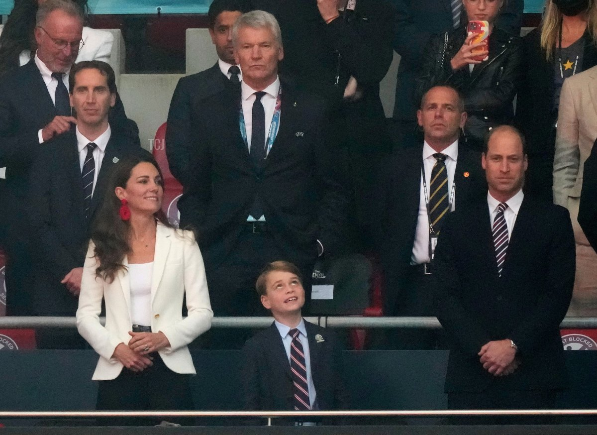 Prince William, President of the Football Association along with Catherine, Duchess of Cambridge look on prior to the UEFA Euro 2020 Championship Final between Italy and England at Wembley Stadium on July 11, 2021 in London, England