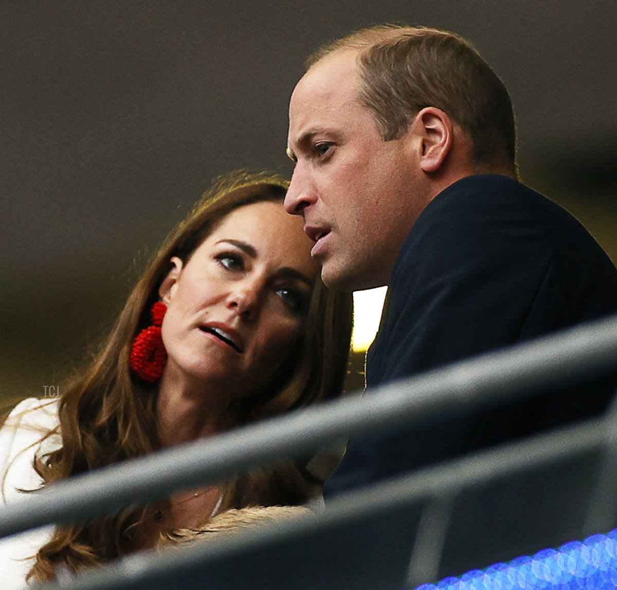 Prince William (R), Duke of Cambridge, listens to Catherine, Duchess of Cambridge, ahead of the UEFA EURO 2020 final football match between Italy and England at the Wembley Stadium in London on July 11, 2021