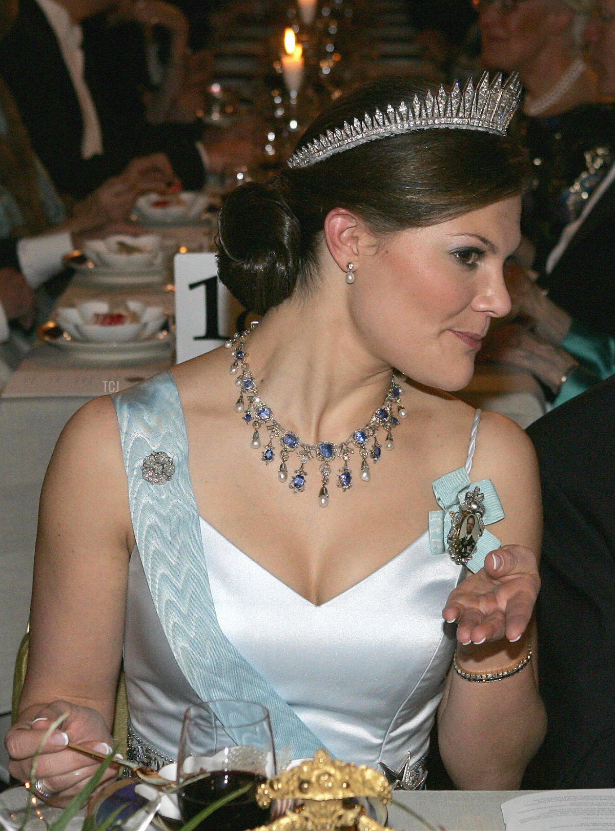 Crown Princess Victoria of Sweden attends the Nobel Banquet at the Stockholm City Hall on December 10, 2005 in Stockholm, Sweden