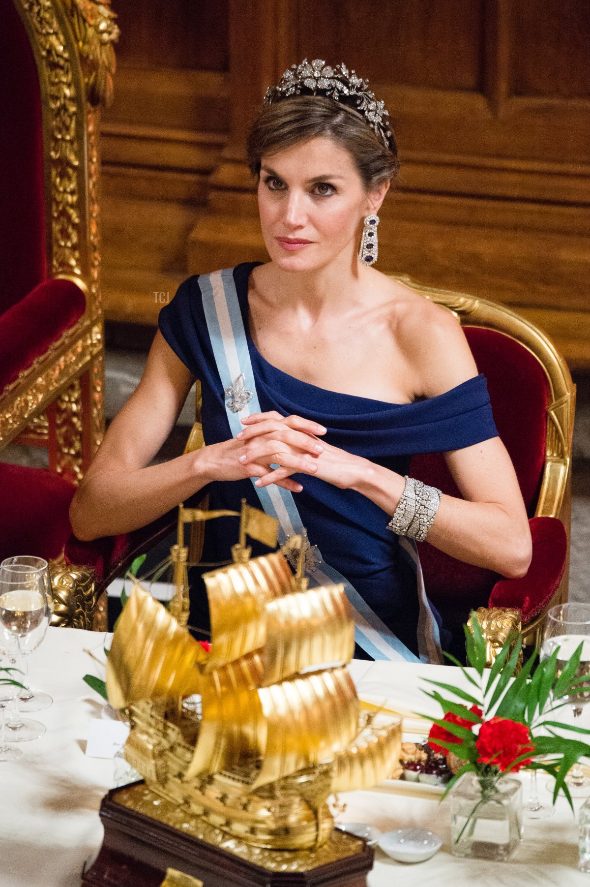 Queen Letizia of Spain attends a banquet at the Guildhall during a State visit by the King and Queen of Spain on July 13, 2017 in London, England