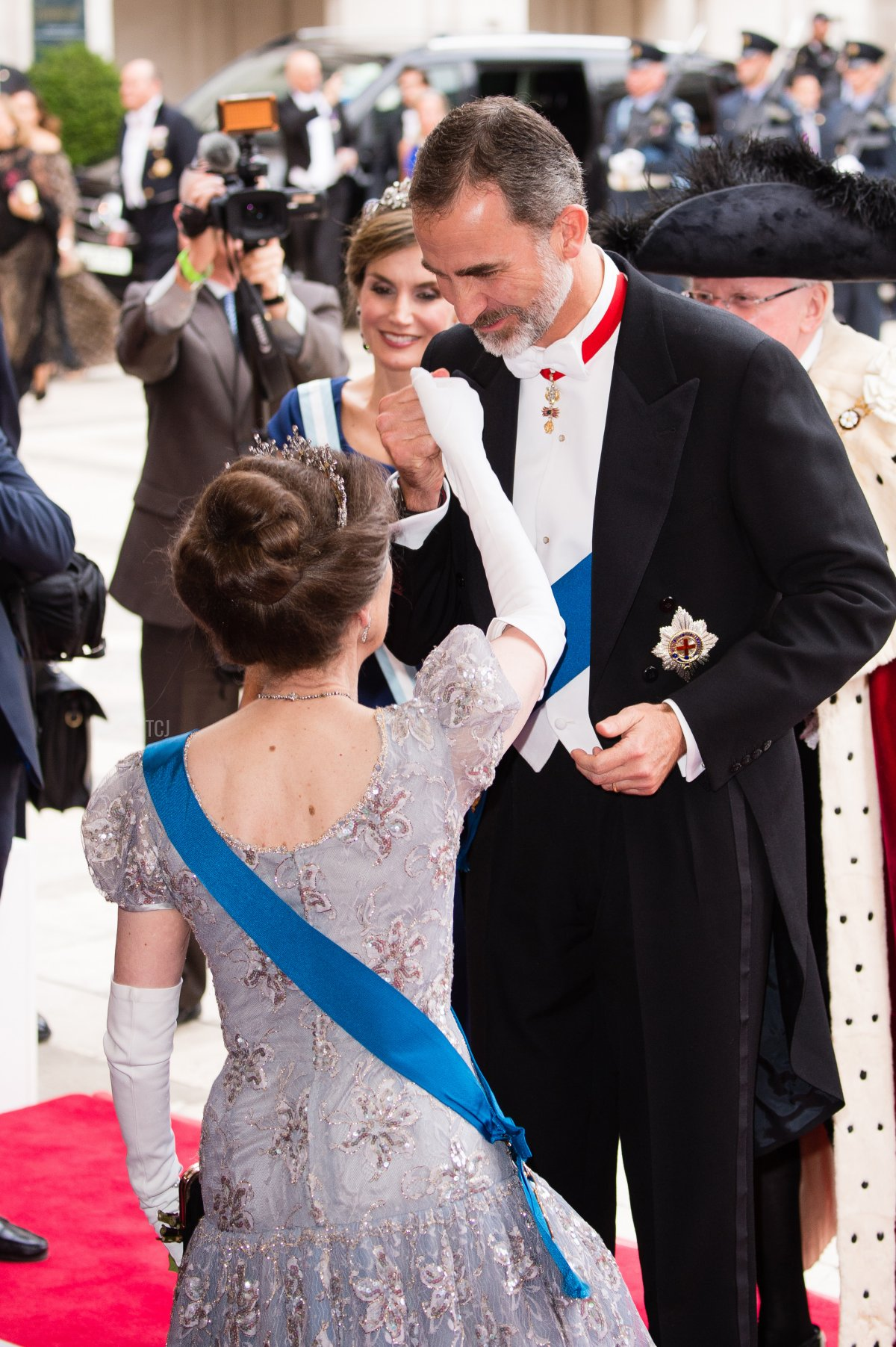 Princess Anne, Princess Royal greets King Felipe VI of Spain as they attend the Lord Mayor's Banquet at the Guildhall during a State visit by the King and Queen of Spain on July 13, 2017 in London, England