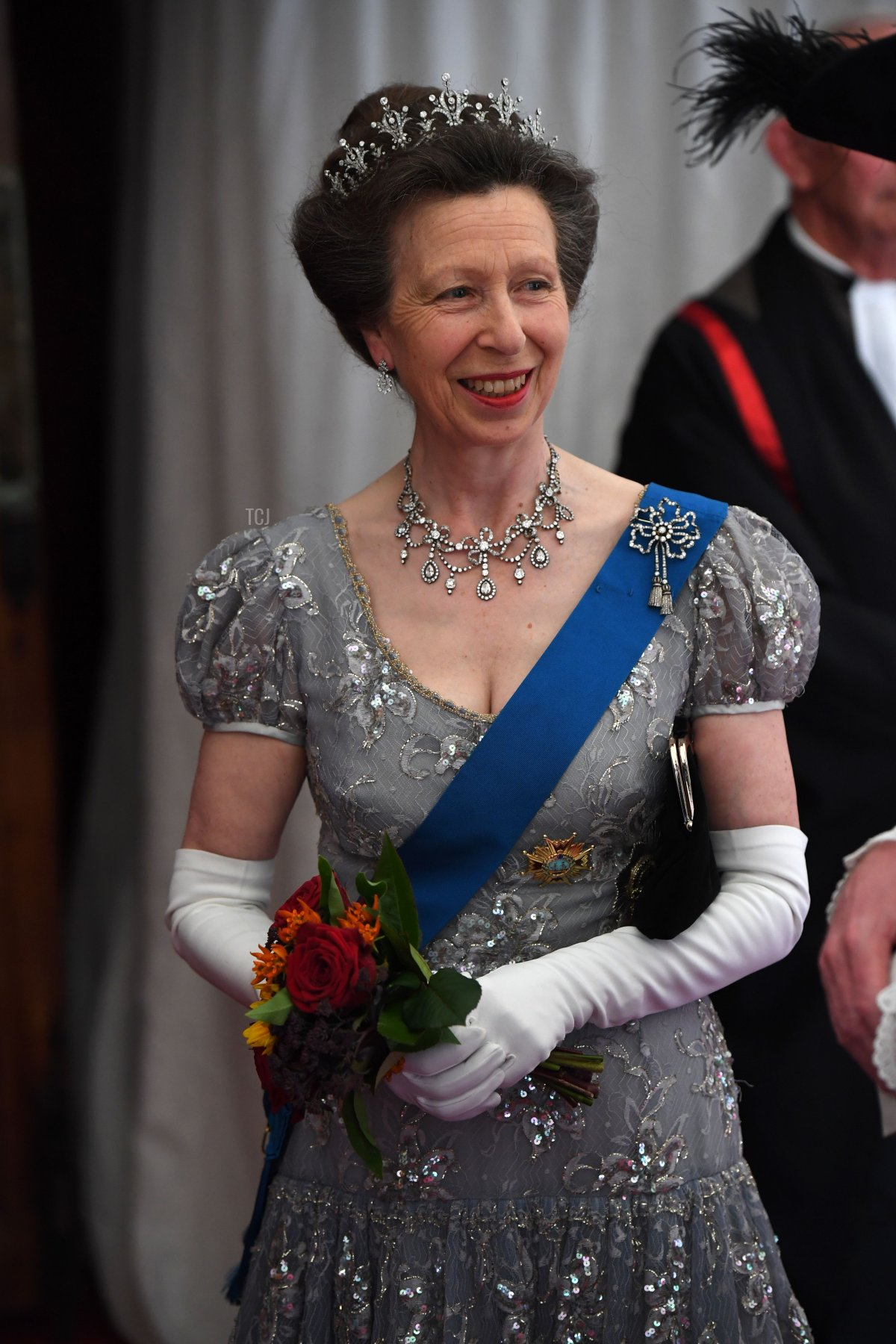 Britain's Princess Anne, Princess Royal awaits the arrival of Spanish King Felipe VI and Spanish Queen Letizia for a banquet at Guildhall in central London on July 13, 2017, on the second day of the Spanish King and Queen's three-day state visit