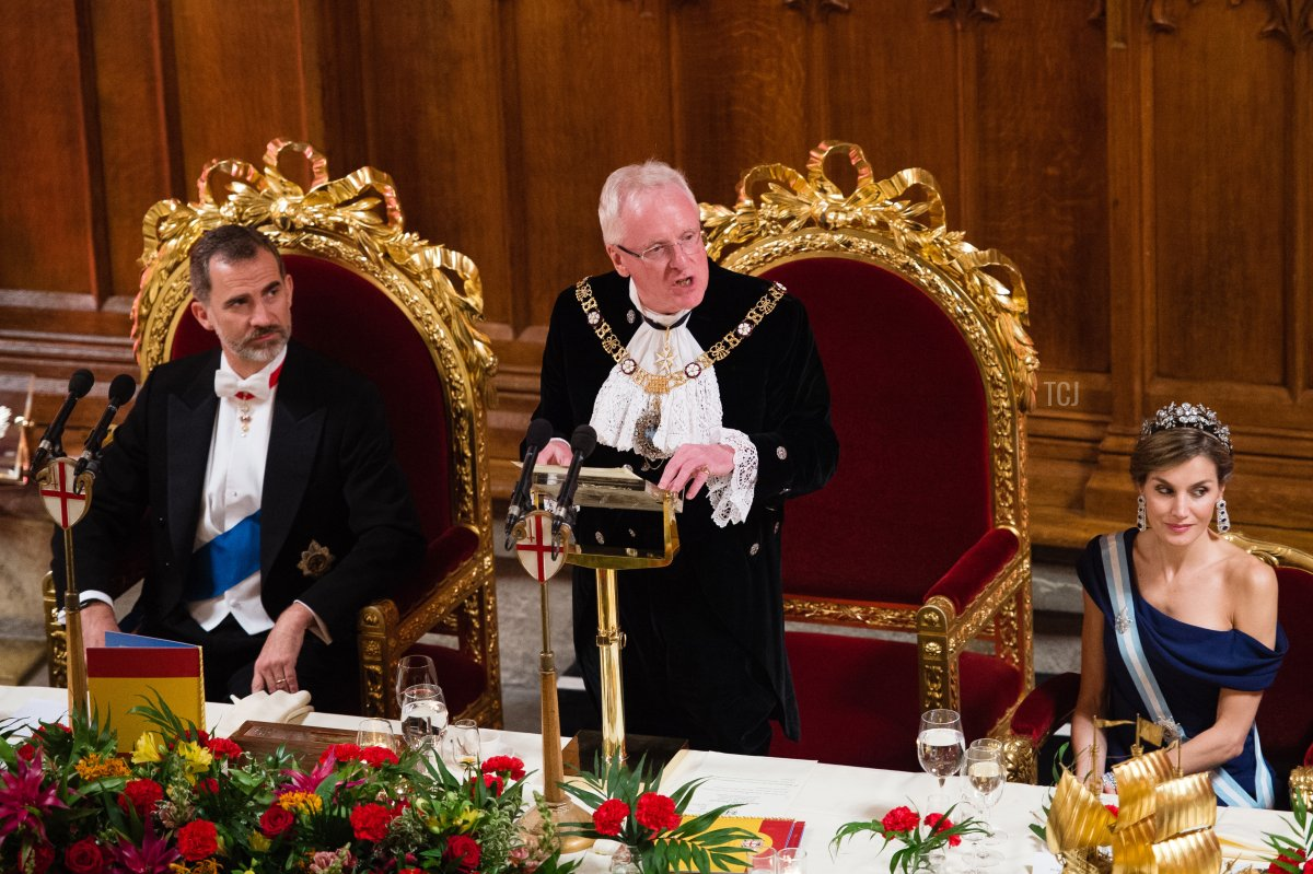 King Felipe VI of Spain (L) and Queen Letizia of Spain (R) listen as Andrew Parmley, Lord Mayor of London (2nd L) makes a speech at the Lord Mayor's Banquet at the Guildhall during a State visit by the King and Queen of Spain on July 13, 2017 in London, England