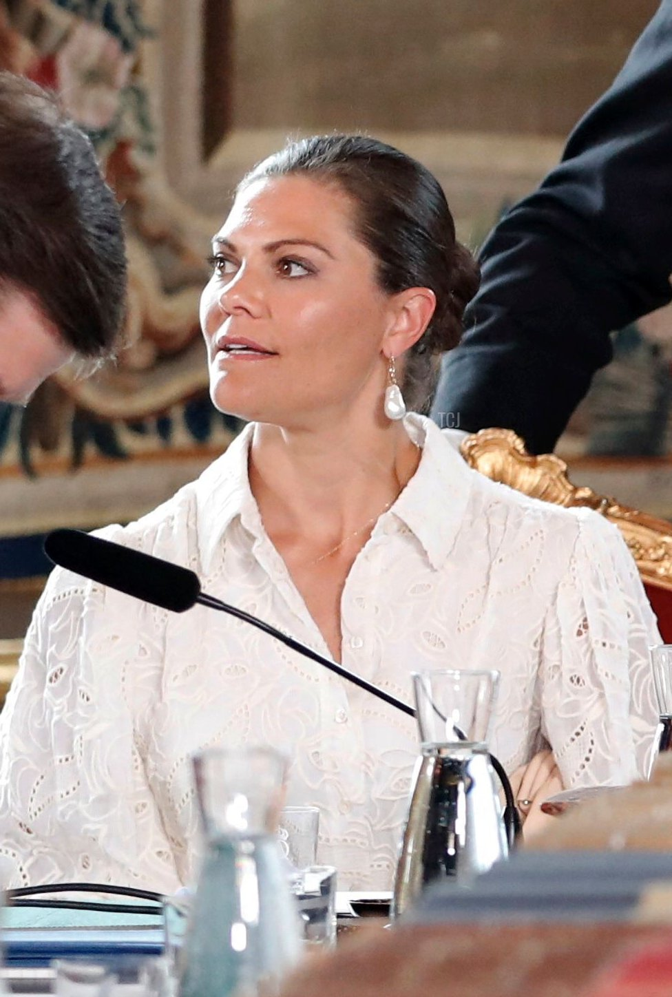 Sweden's Crown Princess Victoria (2L) and Sweden's King Carl XVI Gustaf (2R) together with Prime Minister Stefan Loefven (R) and Speaker of the Parliament Andreas Norlen (L) attend a Change of Government Council at the Royal Palace of Stockholm on July 9, 2021