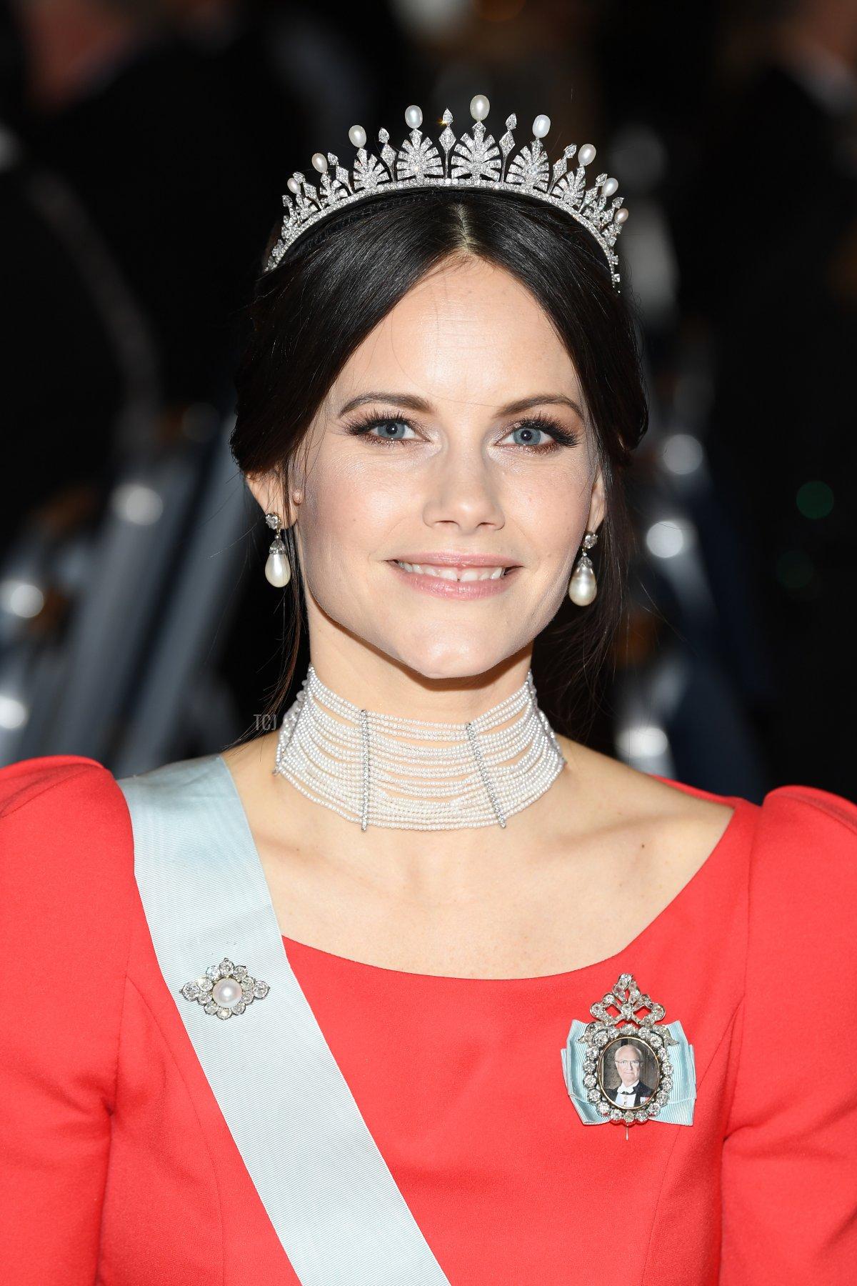 Princess Sofia of Sweden attend the Nobel Prize Banquet 2018 at City Hall on December 10, 2018 in Stockholm, Sweden