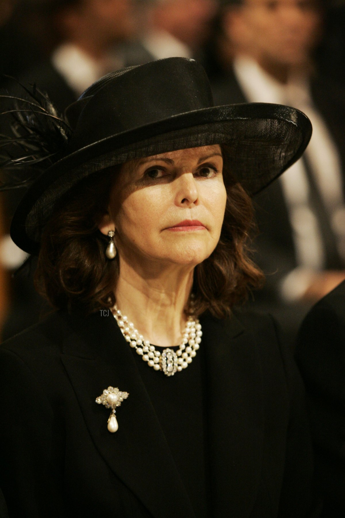 Queen Silvia of Sweden is seen inside the Cathedral at the funeral service of Monaco's Prince Rainier III at Monaco Cathedral on April 15, 2005 in Monte Carlo, Monaco
