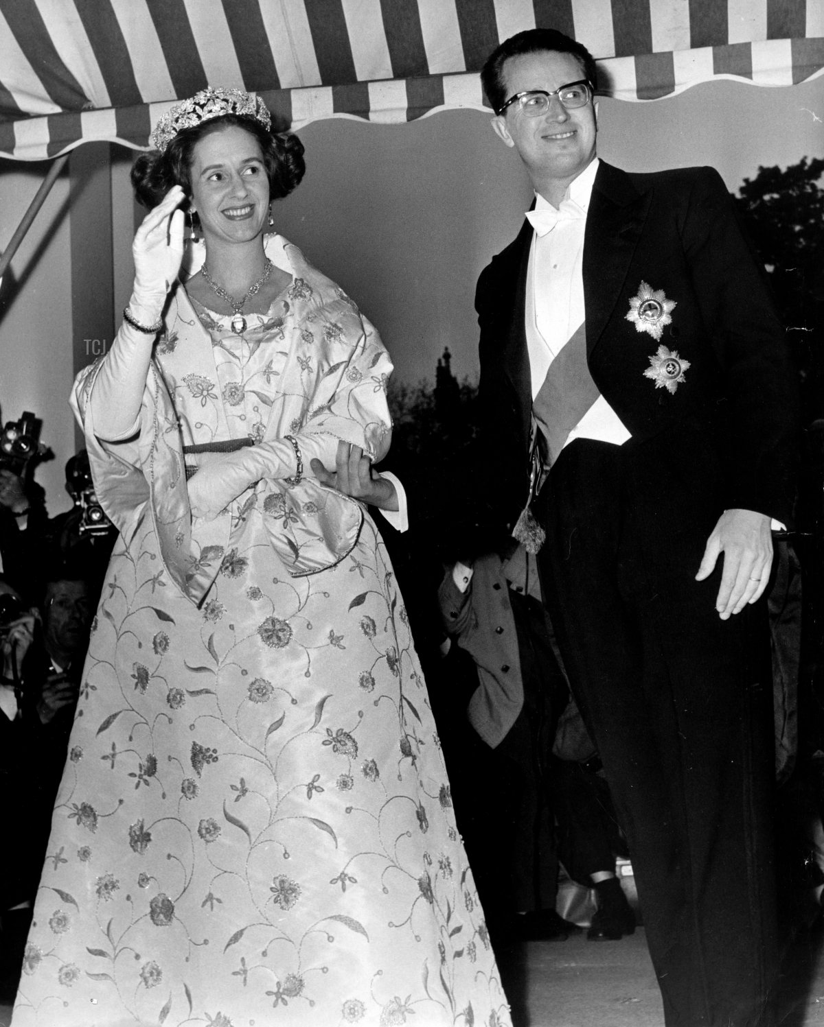 King Baudouin and Queen Fabiola at the Belgian Embassy in London, May 1963