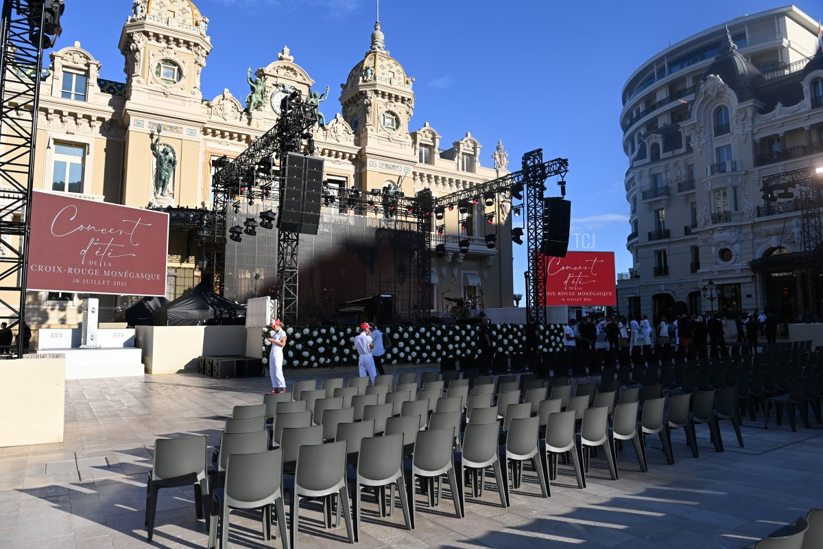 General view of the stage prior to the Red Cross Summer Concert on July 16, 2021 in Monte-Carlo, Monaco