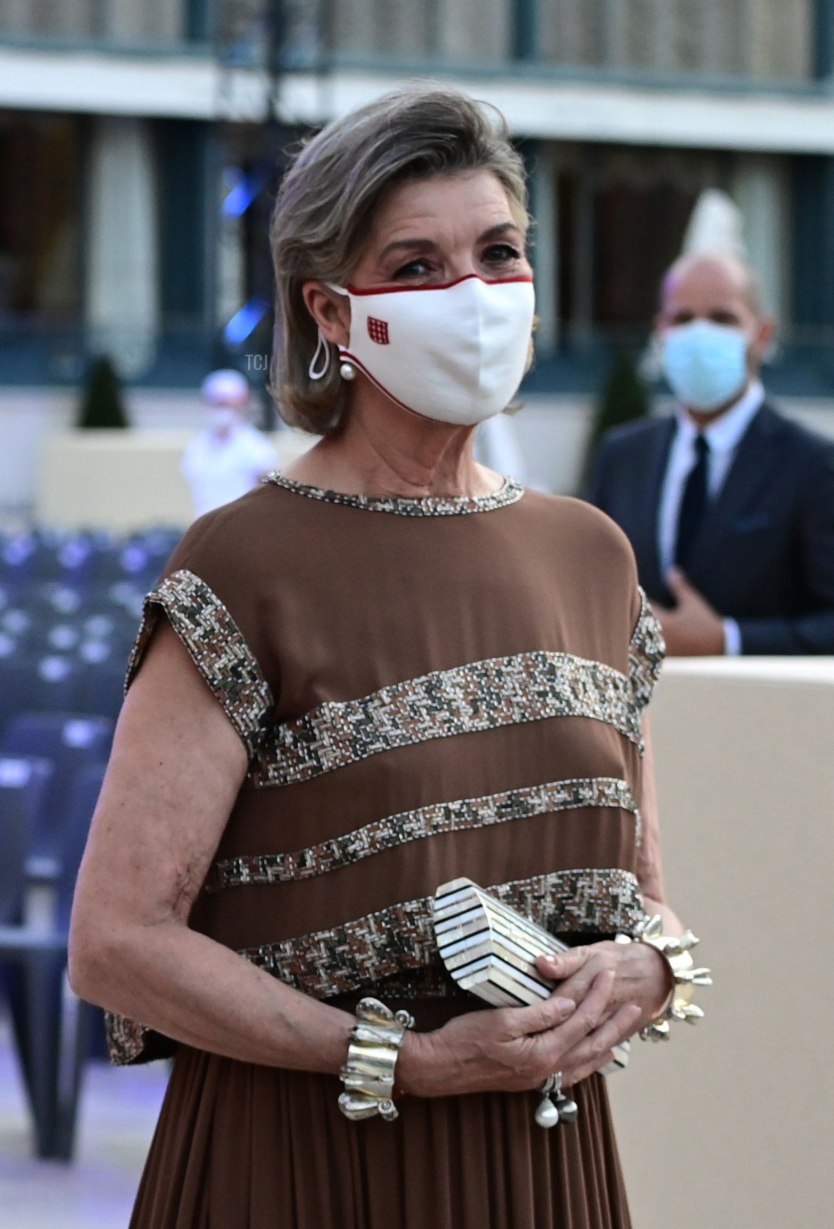 Prince Albert II of Monaco and Princess Caroline of Hanover arrive to attend the Red Cross Summer Concert on July 16, 2021 in Monte-Carlo, Monaco