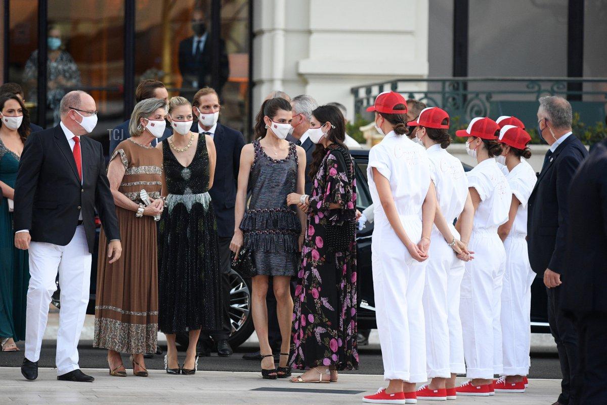 Prince Albert II of Monaco, Princess Caroline of Hanover, Beatrice Borromeo, Andrea Casiraghi, Charlotte Rassam and Tatiana Santo Domingo arrive to attend the Red Cross Summer Concert on July 16, 2021 in Monte-Carlo, Monaco
