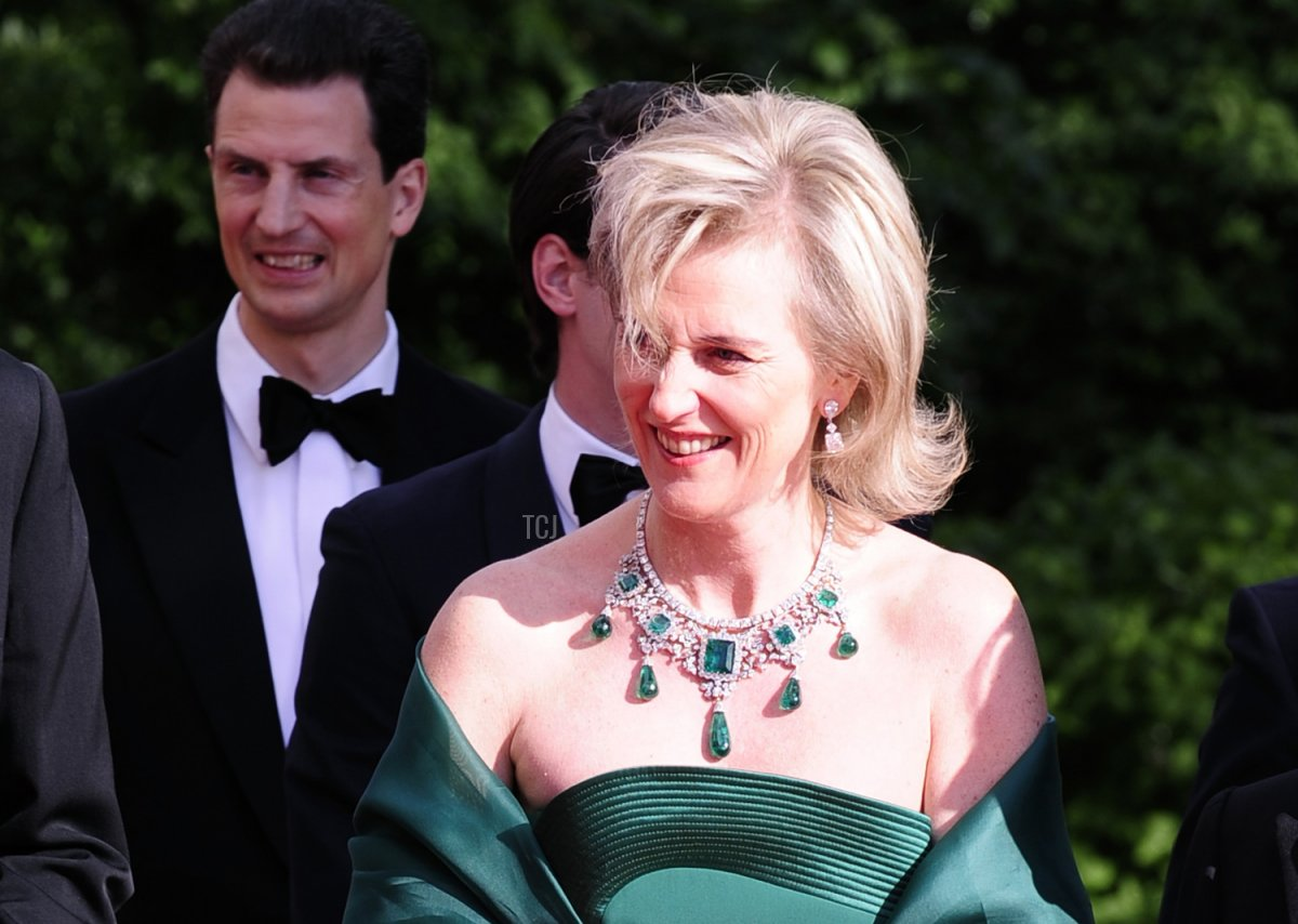 Prince Lorenz (L) and Princess Astrid of Belgium (R) and Japan's Crown Prince Naruhito (R) arrive at the Eric Ericson Hall of Skeppsholmen in Stockholm on June 18, 2010 prior to a gala dinner presented by the local government
