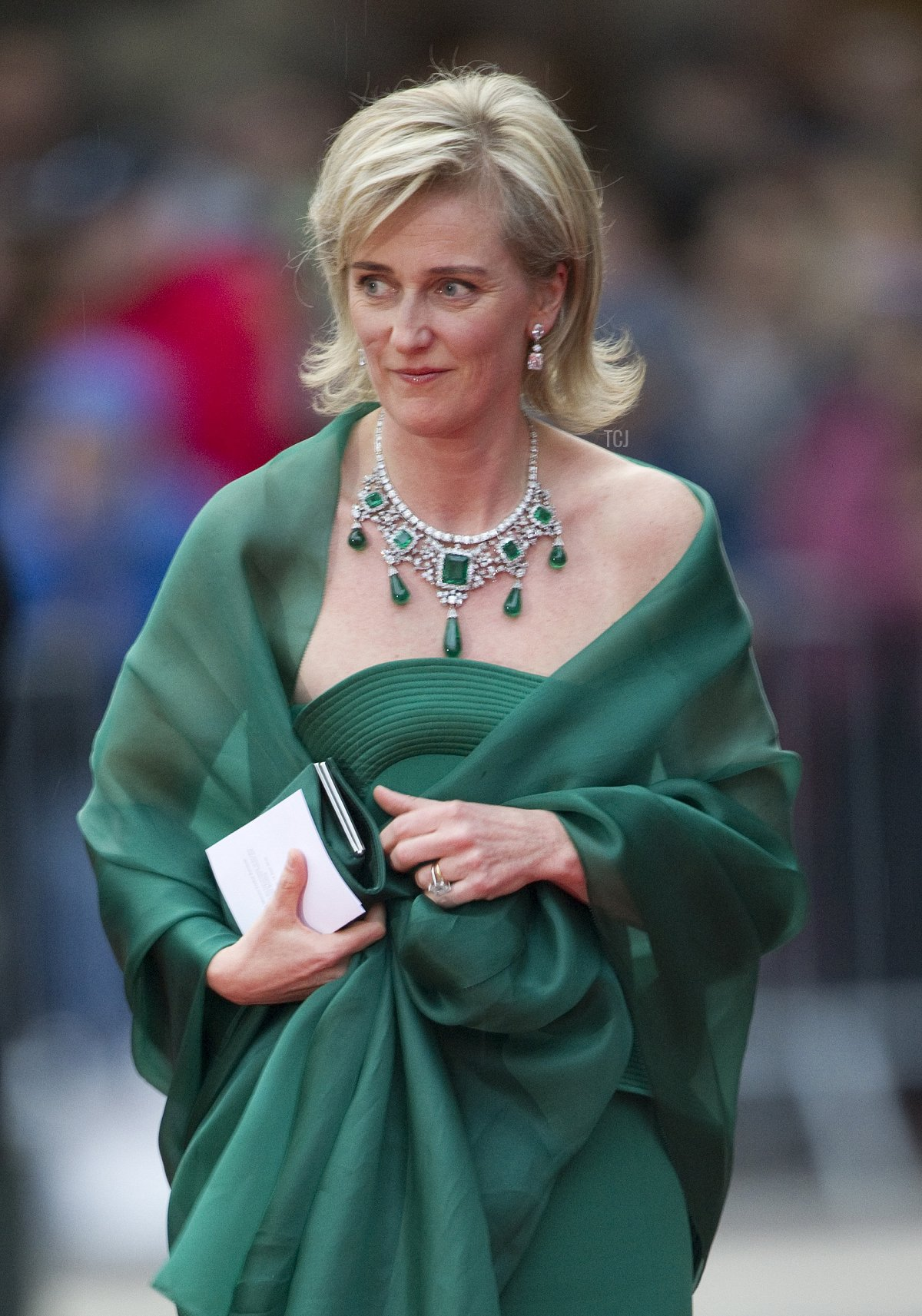 Princess Astrid of Belgium arrives for a gala performance at the Stockholm Concert Hall in Stockholm on June 18, 2010, at the start of the weekend's wedding celebrations