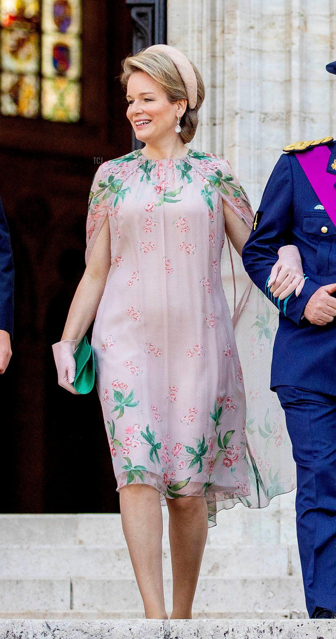 Queen Mathilde departs the cathedral in Brussels on National Day, July 21, 2021