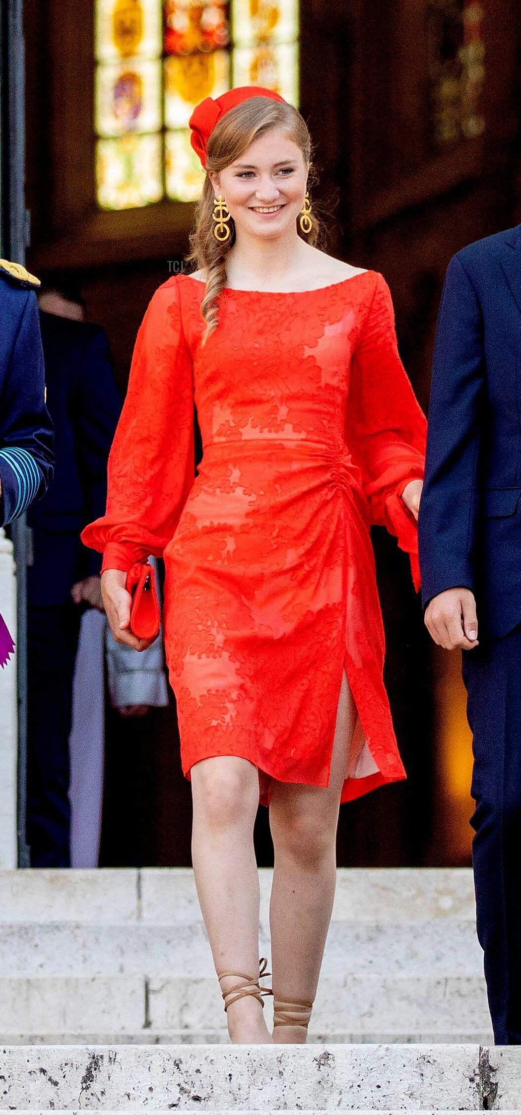Princess Elisabeth, Duchess of Brabant departs the cathedral in Brussels on National Day, July 21, 2021