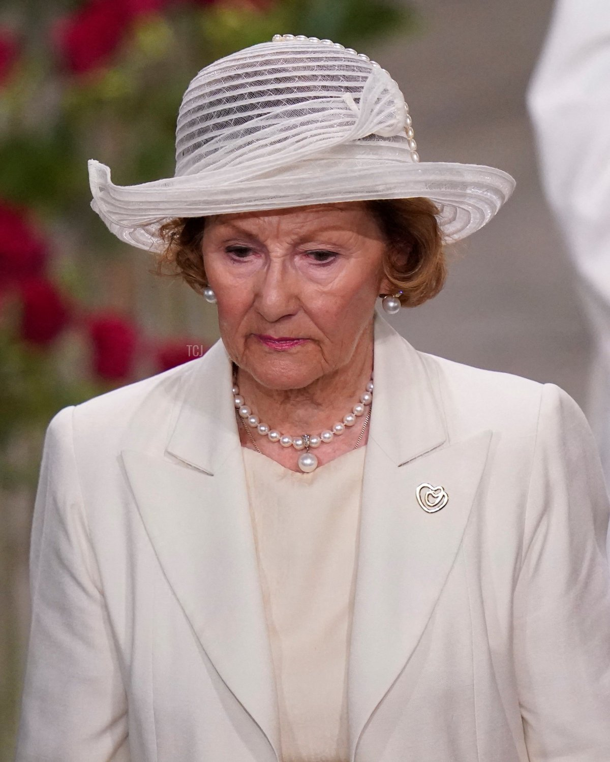 Norway's Queen Sonja leaves Oslo Cathedral after attending a memorial service in the Government Quarter in Oslo, on 22 July 2011, ten years after a right-wing extremist killed 77 people in twin attacks