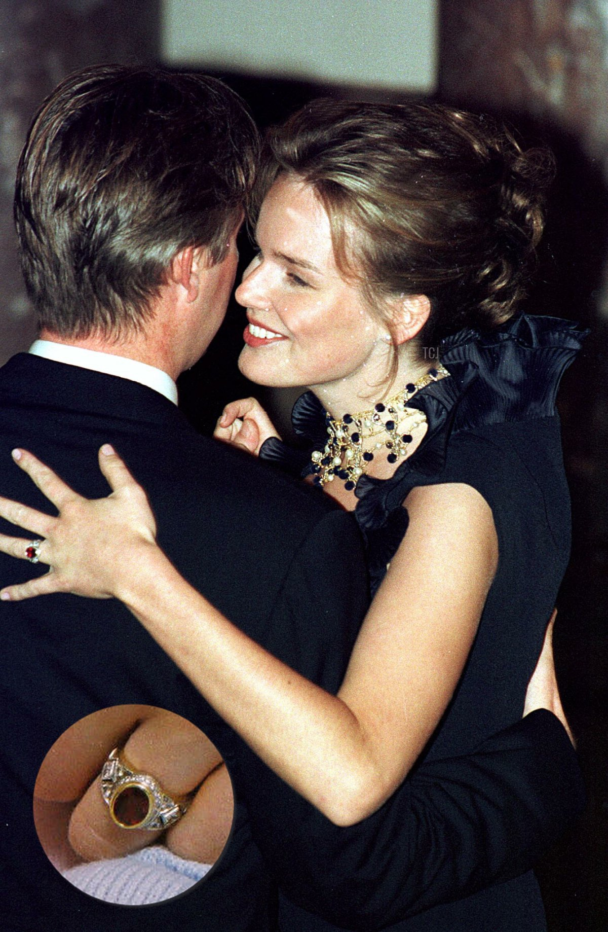 Prince Philippe of Belgium dances with his fiancee, Mathilde d'Udekem d'Acoz, during their engagement party at the Royal Castel in Brussels 13 November 1999. Prince Philippe and Mathilde d'Udekem d'Acoz will marry on 04 December 1999 in Brussels