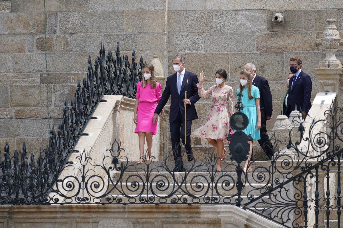 Spanish Royal Family members (L to R), Crown Princess Leonor, King Felipe VI, Queen Letizia and Princess Sofia greeting at the exit of the mass at the Cathedral of Santiago at the national offering to the apostle Santiago on Santiago's regional festivity at Santiago's Cathedral on July 25, 2021