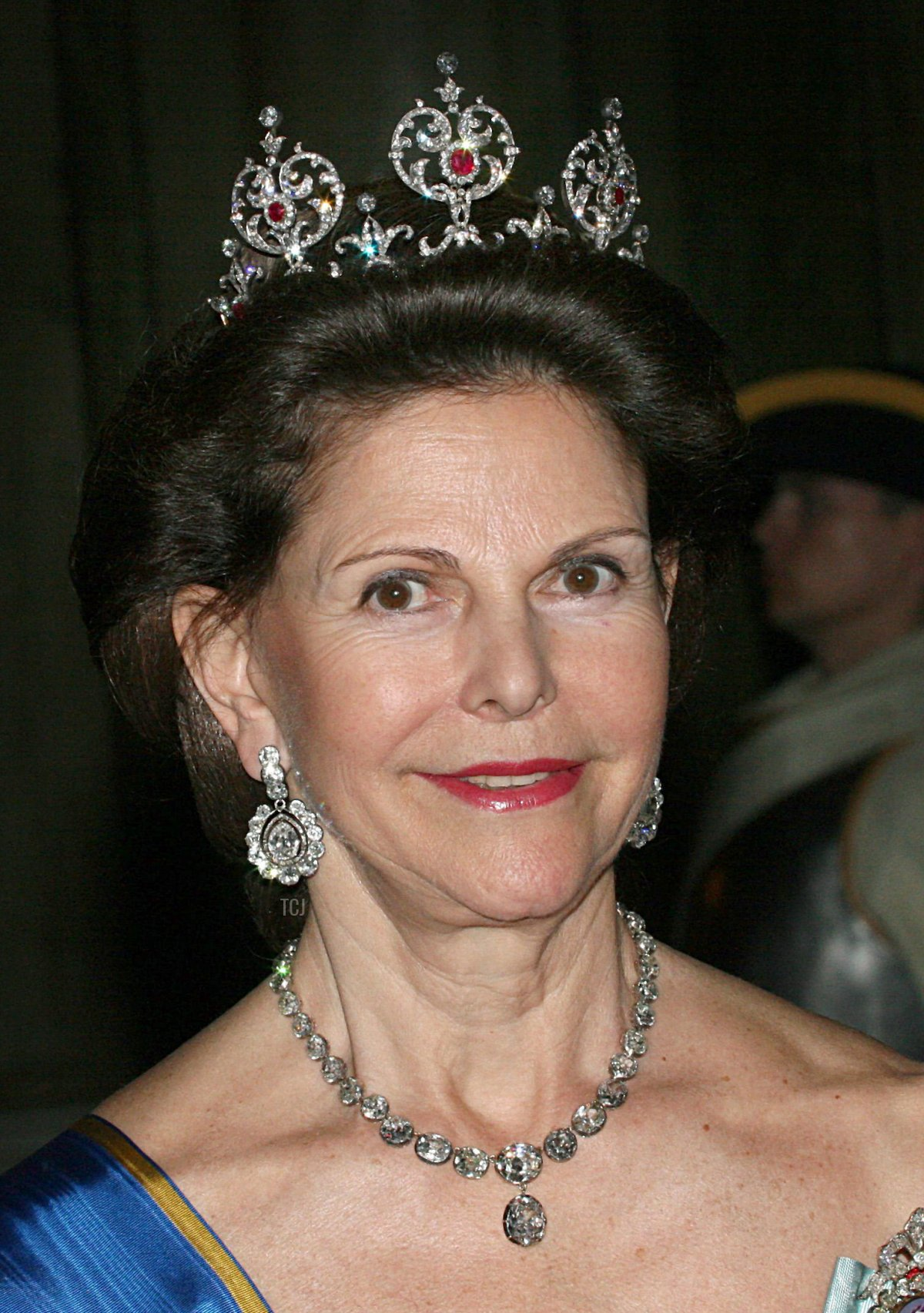 Swedish Queen Silvia smiles during a gala for the Greek President at the Royal Palace in Stockholm, Sweden, 20 May 2008