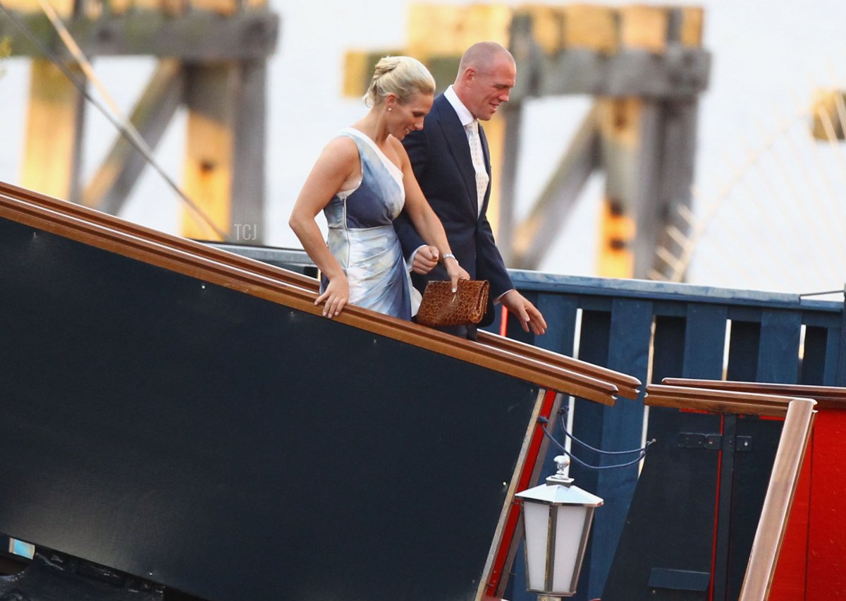 Zara Phillips and Mike Tindall leave their pre wedding party on the Britannia on July 29, 2011 in Edinburgh, Scotland