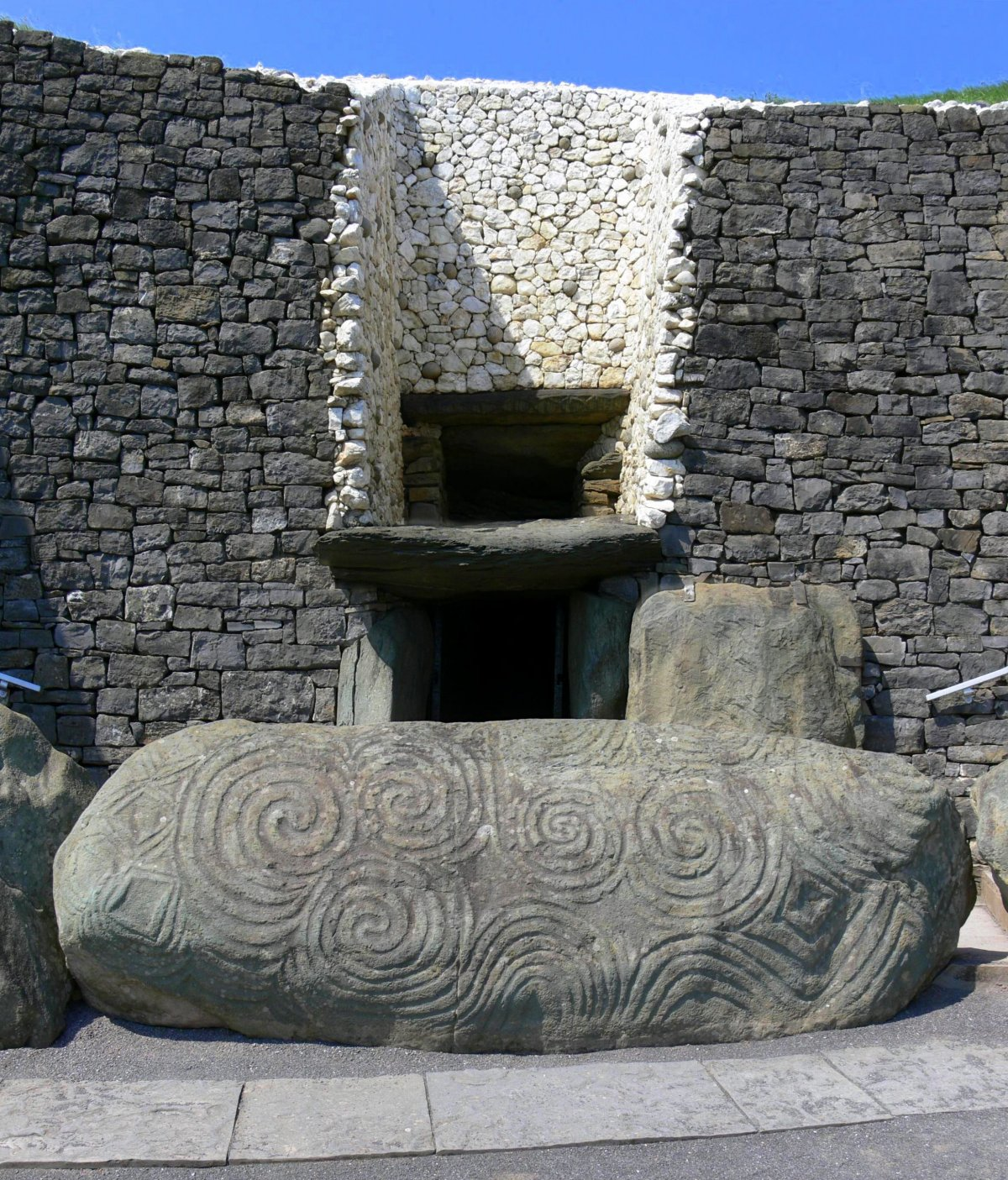 The entrance passage to Newgrange, and the entrance stone