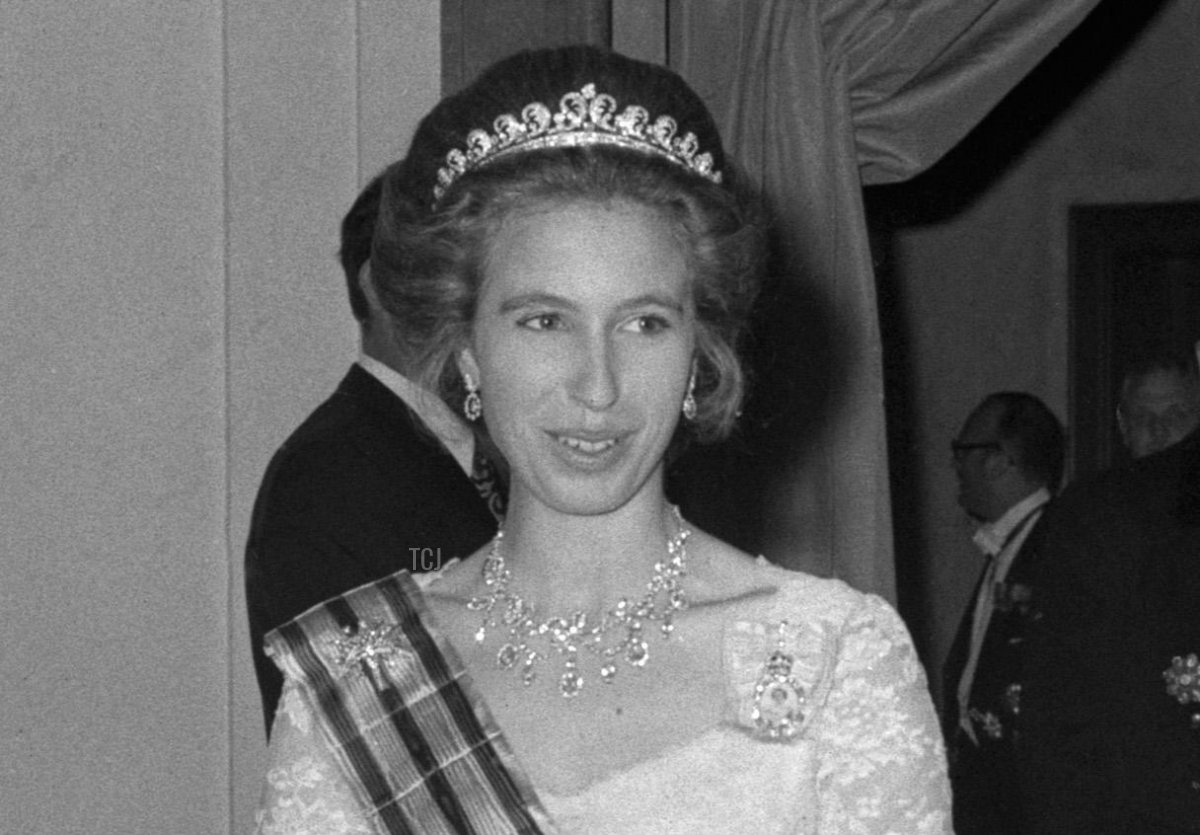 The British royal family attends a dinner with the Grand Duke and Grand Duchess of Luxembourg at Claridge's in London, 1972