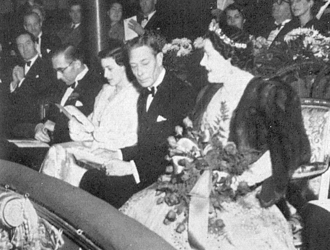 Princess Margaret, King George VI, and Queen Elizabeth attend a performance of Twelfth Night at the Old Vic, Dec 1950