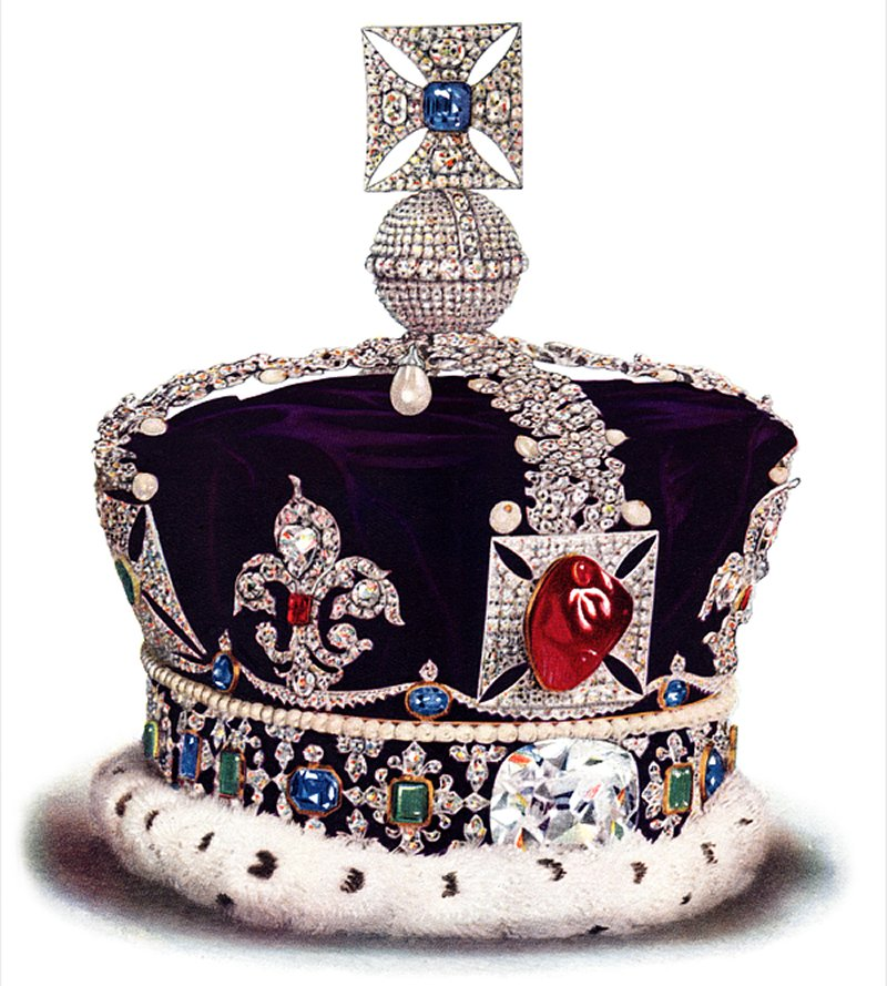 Illustration of the Imperial State Crown from The Crown Jewels of England, ca. 1919