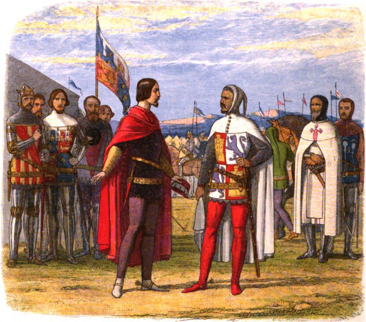 """""""Edward, the Black Prince, extorts an amnesty from Pedro the Cruel,"""" an illustration from Doyle's A Chronicle of England, 1864"""