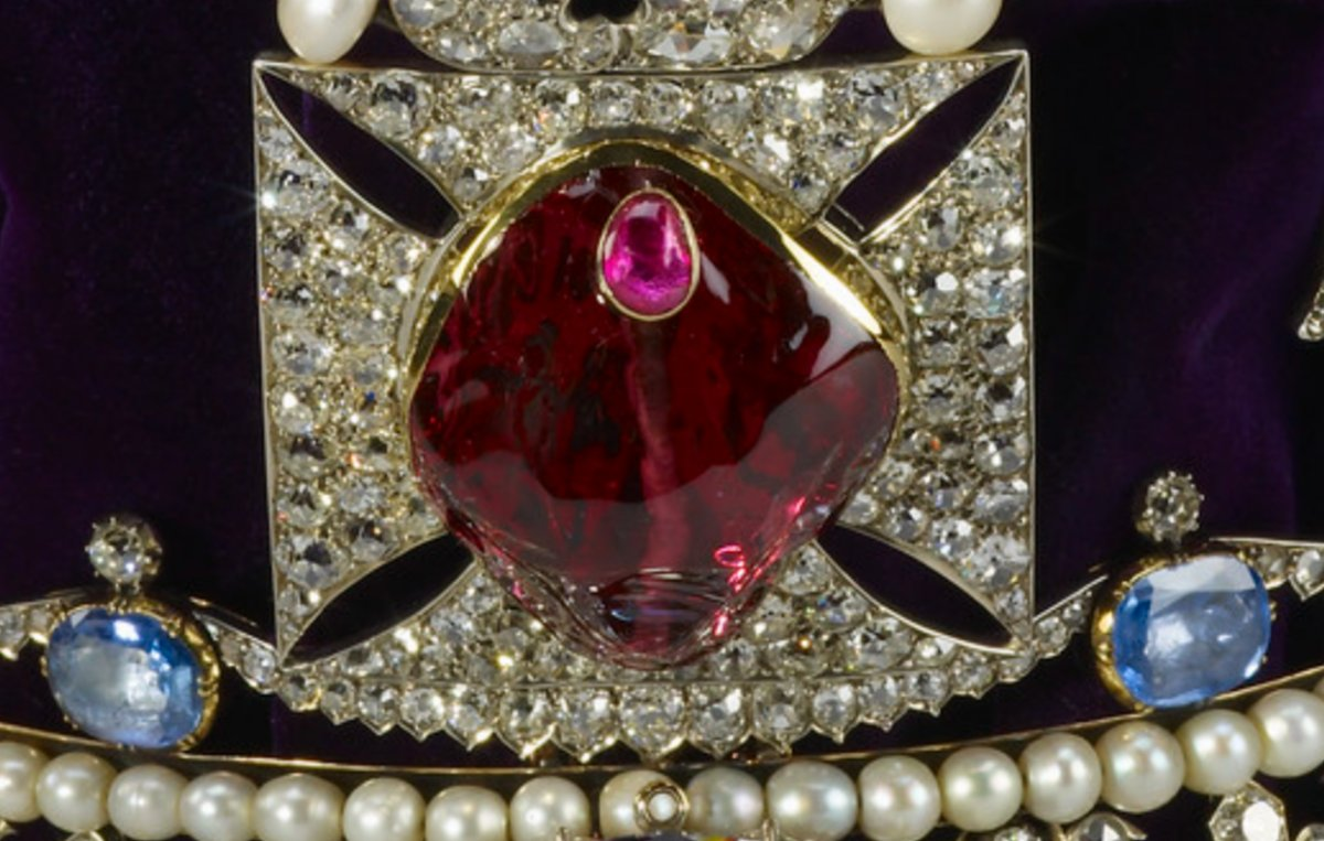 Detail of the Black Prince's Ruby, set in the Imperial State Crown