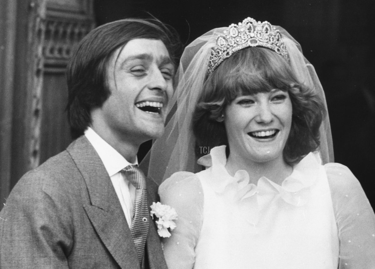 Gerald Grosvenor, 6th Duke of Westminster, and his new wife Natalia Phillips smiling happily on their wedding day outside St Mary's Church, Luton, February 20th 1978