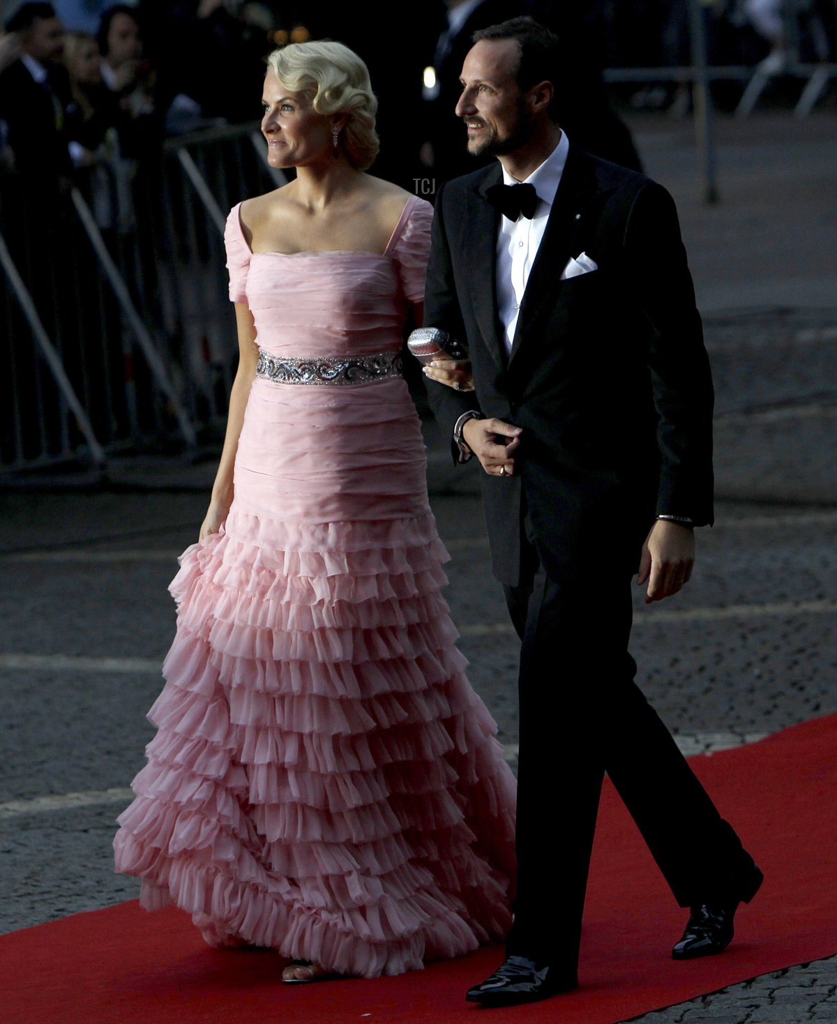 Norway's Crown prince Haakon Crown and Princess Mette-Marit arrive for a gala performance at the Stockholm Concert Hall in Stockholm on June 18, 2010