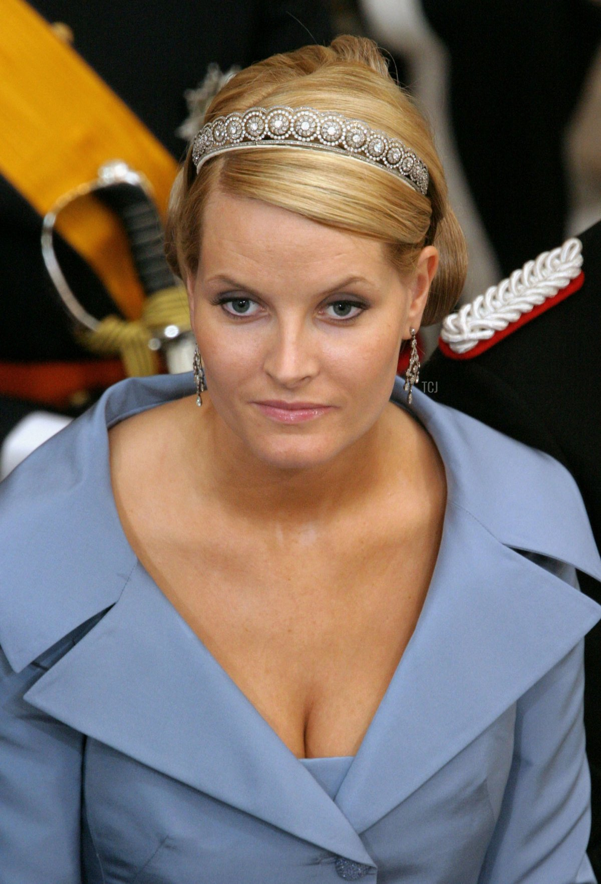 Crown Princess Mette-Marit of Norway arrives to attend the wedding between Danish Crown Prince Frederik and Miss Mary Elizabeth Donaldson in Copenhagen Cathedral May 14, 2004