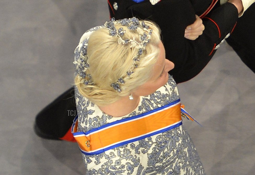 Crown Prince Haakon of Norway and Crown Princess Mette-Marit of Norway attend the inauguration ceremony of HM King Willem Alexander of the Netherlands and HM Queen Maxima of the Netherlands at New Church on April 30, 2013