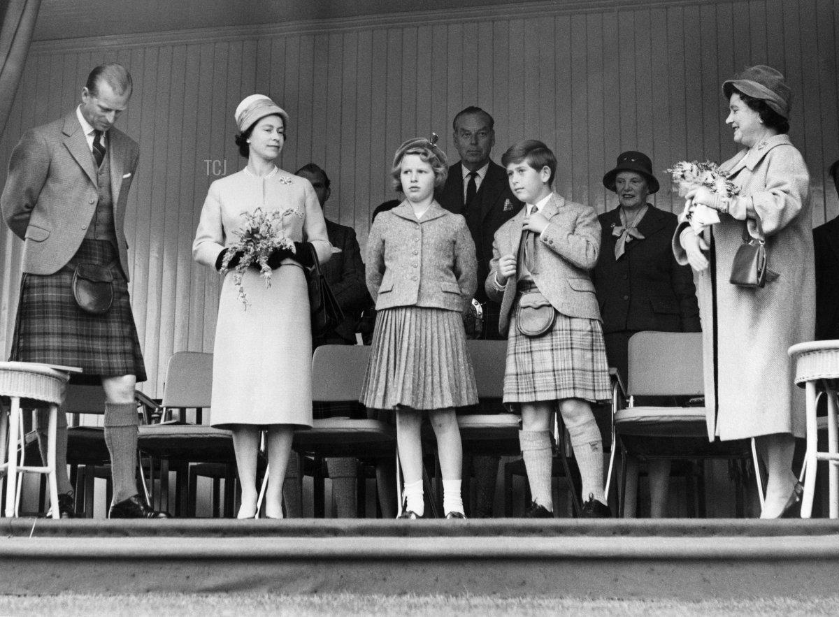 Prince Philip, Duke of Edinburgh, Queen Elizabeth II, Princess Anne, Prince Charles and Queen Mother Elizabeth attend the annual Braemer Gathering in Braemar on September 9, 1960