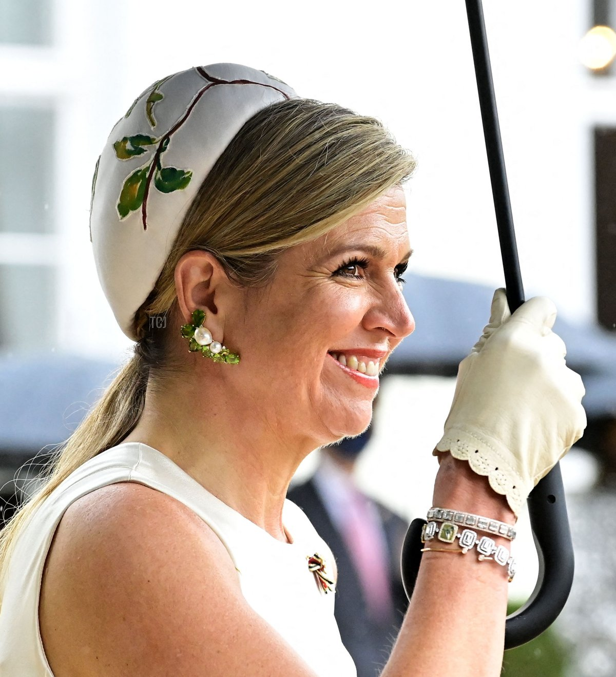 Queen Maxima of the Netherlands smiles as she attends an official welcoming ceremony at the Bellevue presidential palace in Berlin on July 5, 2021