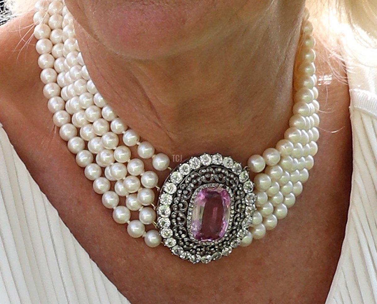 Camilla's Pink Topaz & Pearl Choker