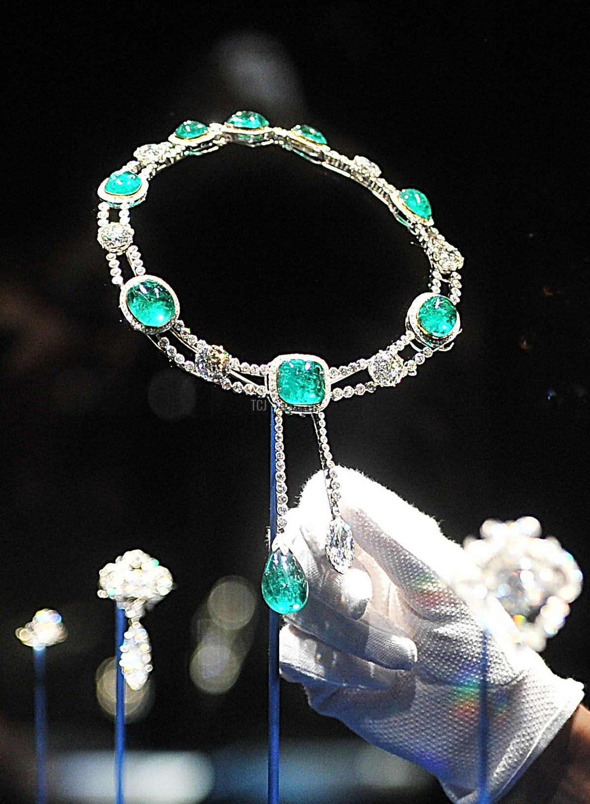 The emerald and diamond stomacher designed for the Delhi Durbar on display in the Diamonds: A Jubilee Celebration exhibition which forms part of the summer opening of Buckingham Palace on June 28, 2012 in London