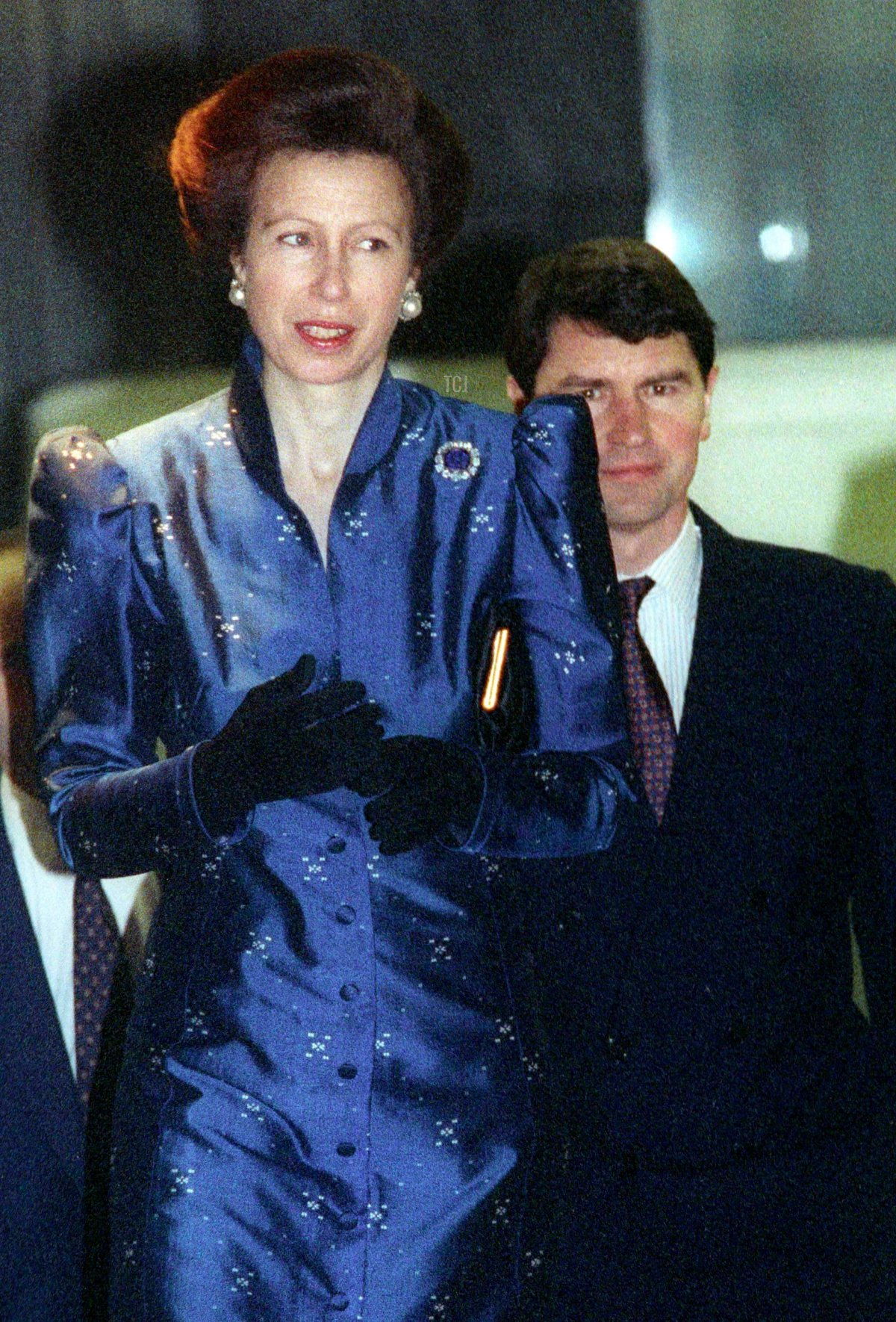 Royal newlyweds, Princess Anne and her husband Commander Tim Laurence, arrive for the charity premiere of New Zealand-made movie 'The End of the Golden Weather' in London, February 4, 1993