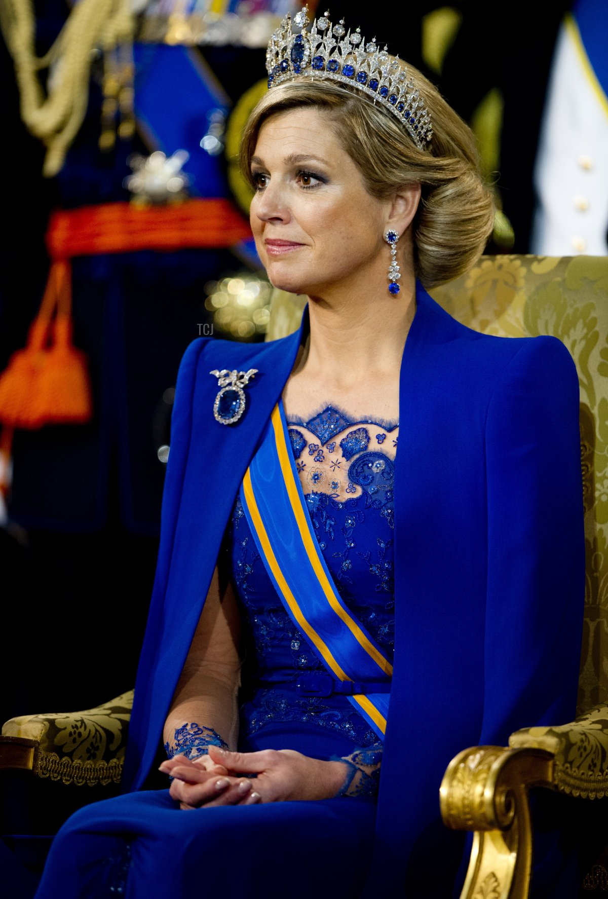 Queen Maxima of the Netherlands attends the inauguration of her husband King Willem-Alexander of the Netherlands at the Nieuwe Kerk (New Church) in Amsterdam, on April 30, 2013