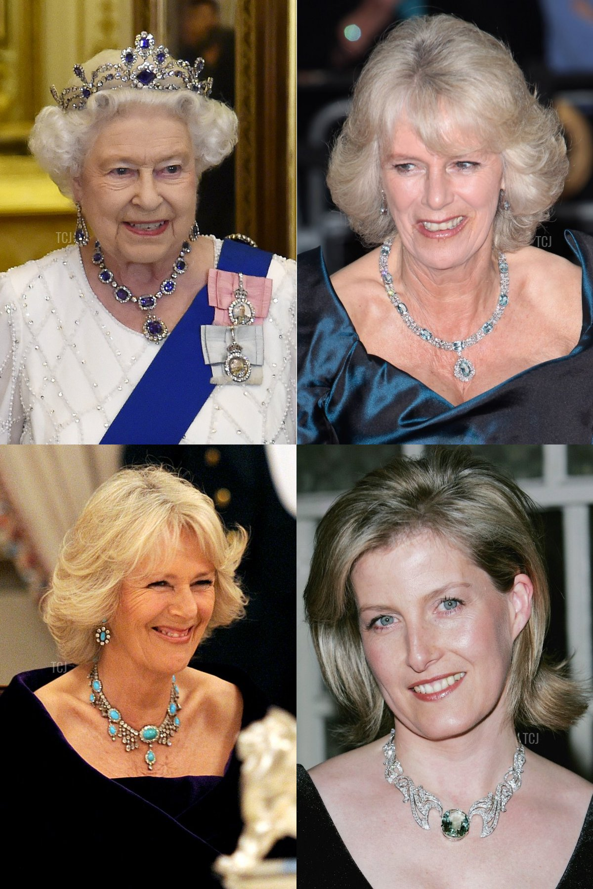 Clockwise (from top L): The George VI Sapphire Necklace, Camilla's Aquamarine Necklace, the Wessex Aquamarine Necklace, and Camilla's Turquoise Necklace