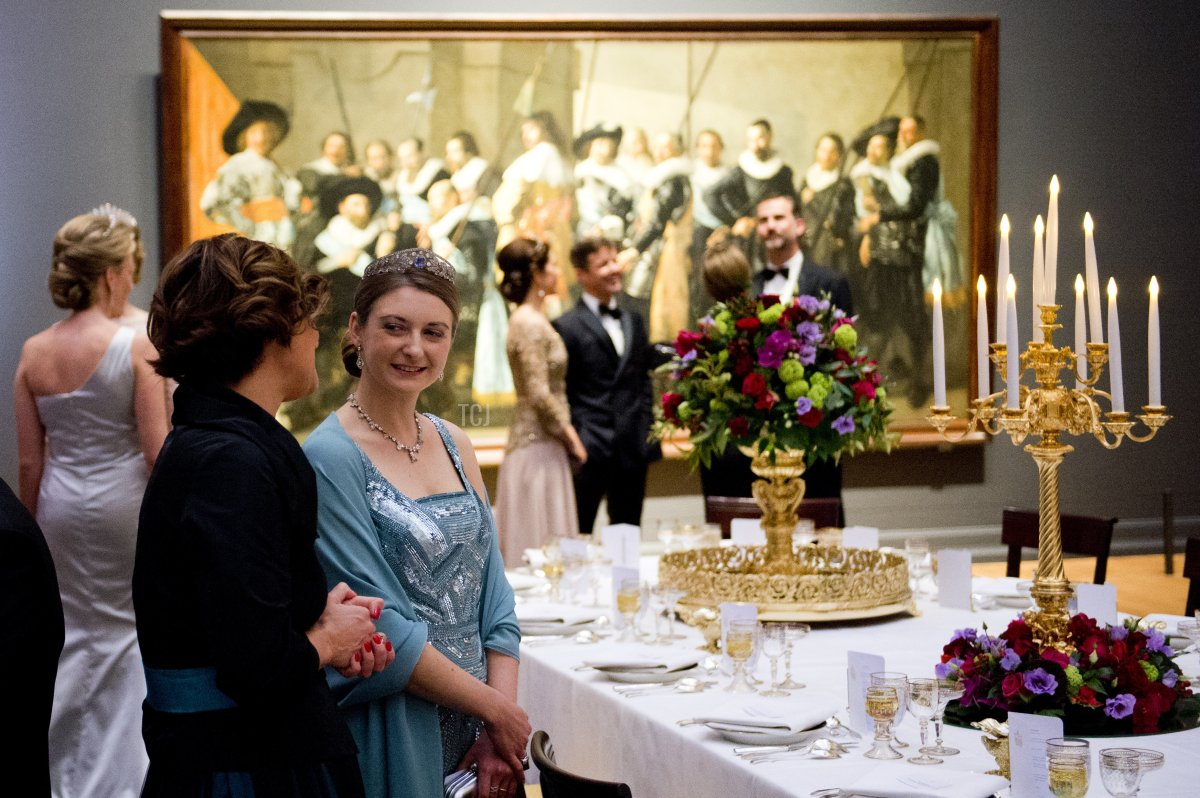 Princess Stephanie of Luxembourg (2nd L) attends a dinner hosted by Queen Beatrix of The Netherlands ahead of her abdication at Rijksmuseum on April 29, 2013 in Amsterdam, Netherlands