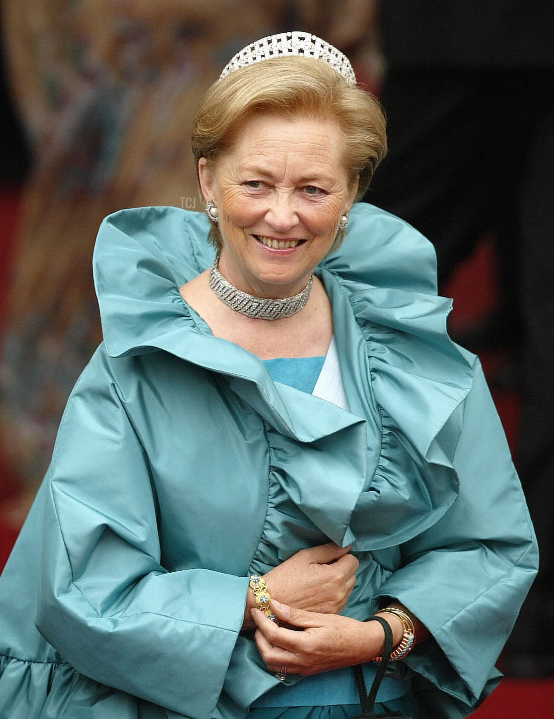 Belgium's Queen Paola arrives at the Copenhagen Cathedral for the wedding of Mary Elisabeth Donaldson and Crown Prince Frederik of Denmark, 14 May 2004