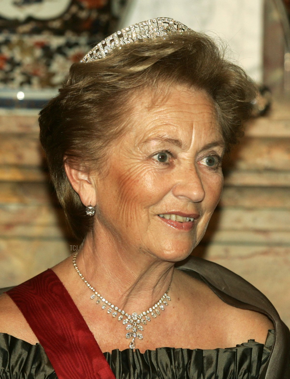 Queen Paola of Belgium poses before the gala dinner at Laeken Castle October 18, 2005 in Brussels, Belgium