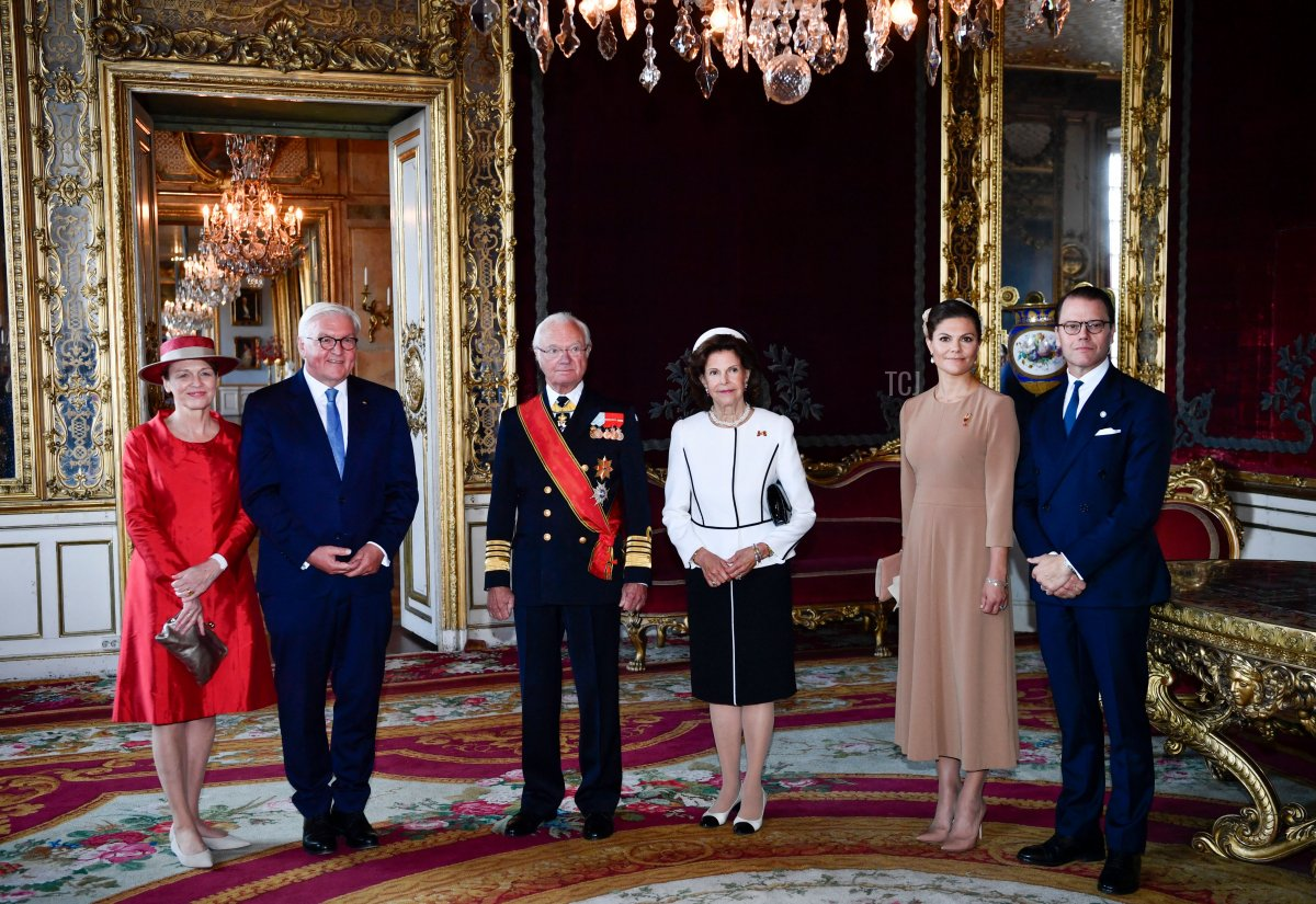 Wife of German President Elke Buedenbender, German President Frank-Walter Steinmeier, Sweden's King Carl Gustaf, Queen Silvia, Crown Princess Victoria and Prince Daniel pose for a picture during a welcoming ceremony at the Royal Palace in Stockholm, on September 7, 2021