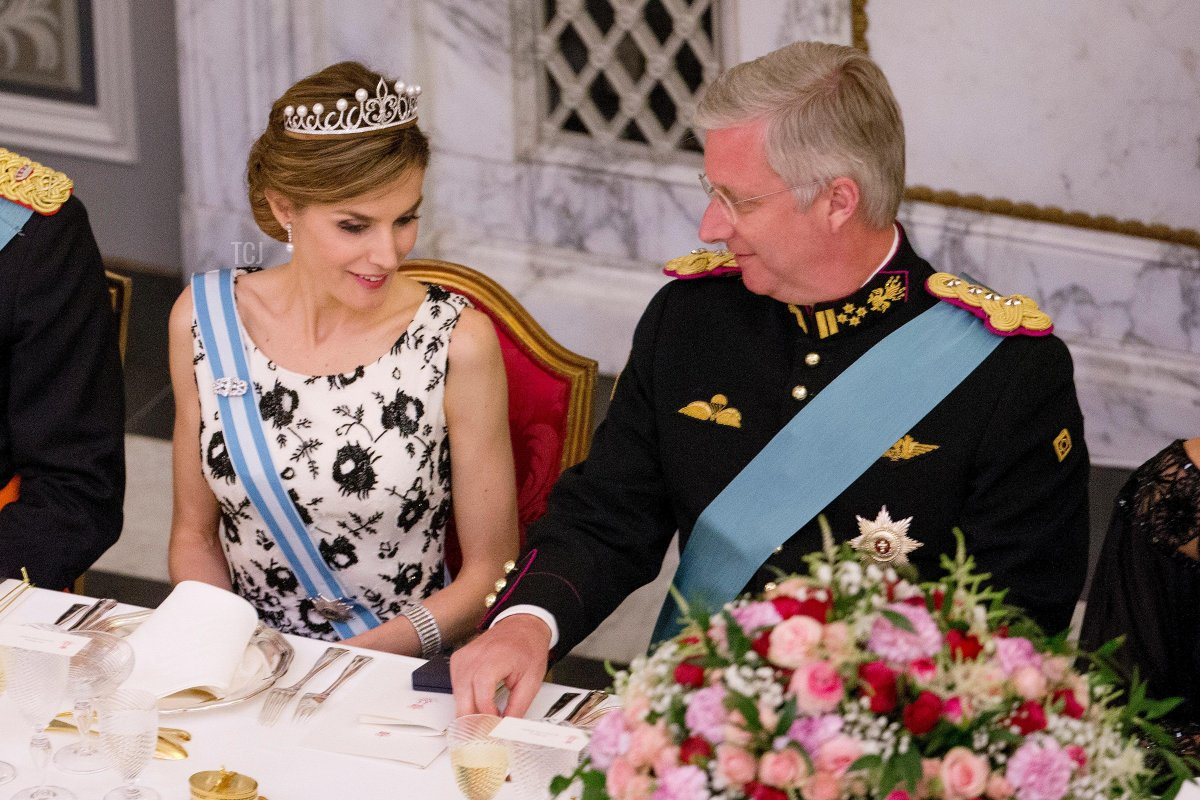 Copenhagen, Denmark. 15th Apr, 2015. Queen Letizia of Spain and King Philippe of Belgium attend the gala dinner for the Danish Queen Margrethe's 75th birthday at Christiansborg Palace in Copenhagen, Denmark, 15 April 2015