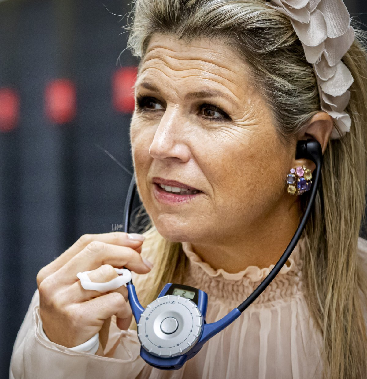 Dutch Queen Maxima looks at the national supercomputer Snellius during a visit at the Science Park in Amsterdam, on September 16, 2021
