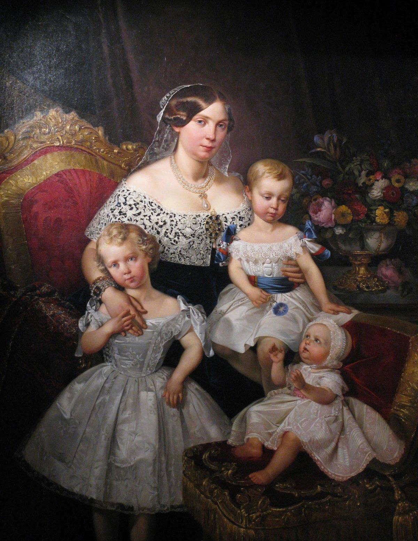 Louise Marie Thérèse d'Artois, Duchess of Parma with her three children by Raffi Prosper, ca. 1849