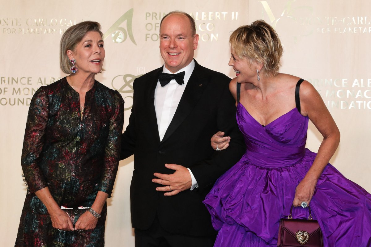American actress Sharon Stone, Prince's Albert II of Monaco and Princess Caroline of Hanover pose during the photocall ahead of the 2021 Monte-Carlo Gala for Planetary Health at the Palais de Monaco, in Monaco, on September 23, 2021